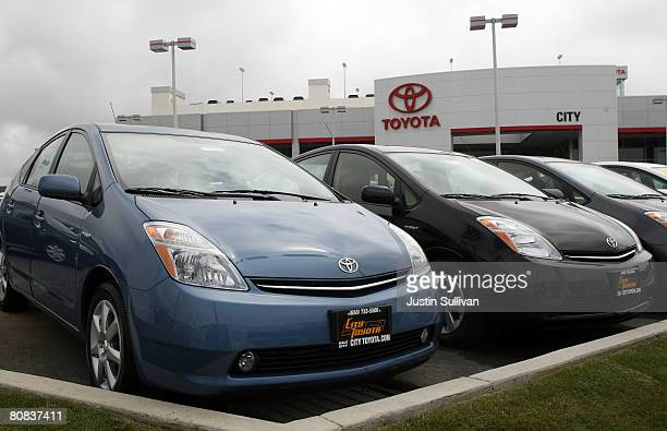 Brand new Toyota Prius hybrid cars are displayed at City Toyota April 23 2008 in Daly City California Toyota surpassed General Motors in global sales...