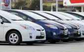 Brand new Toyota Prius hybrids sit on the sales lot at City Toyota on November 30 2010 in Daly City California Toyota Motor Corp is issuing a recall...
