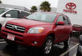 A brand new Toyota RAV4 is displayed on the Toyota of Marin sales lot January 21 2010 in San Rafael California Toyota announced today that is...