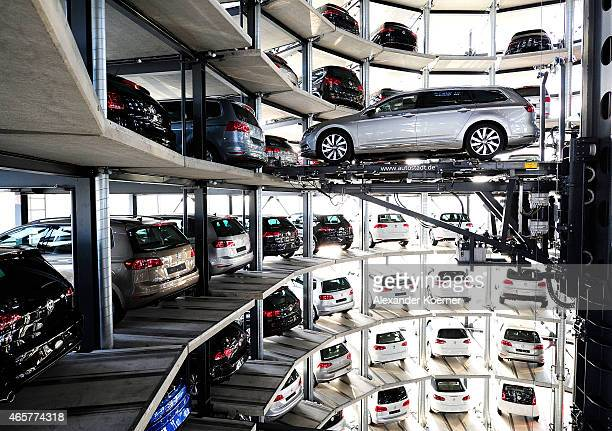 A brand new Volkswagen Passat car is stored in a tower at the Volkswagen Autostadt complex near the Volkswagen factory on March 10 2015 in Wolfsburg...