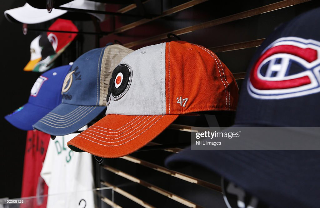 47 Brand shows it's hats at the 2014 NHL Exchange at Pepsi Center on July 23, 2014, in Denver, Colorado.