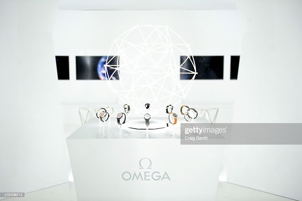 OMEGA brand watches on display at the OMEGA Speedmaster Houston Event at Western Airways Airport Hangar on May 12, 2015 in Sugar Land, Texas.