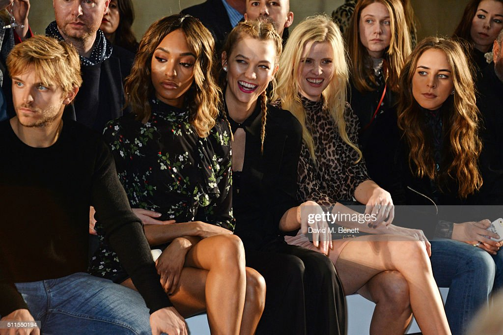 Brandan Green, Jourdan Dunn, Karlie Kloss, Lara Stone and Chloe Green attend the Topshop Unique at The Tate Britain on February 21, 2016 in London, England.