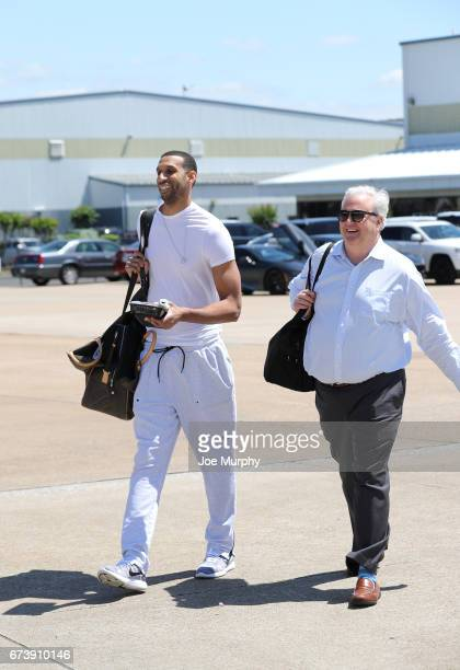 Brandan Wright and Chris Wallace of the Memphis Grizzlies board the team plane on the way to San Antonio on April 24 2017 at Wilson Air Center in...