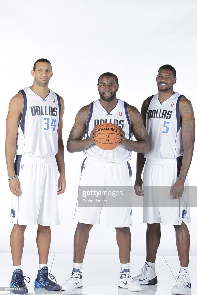 Brandan Wright #34, DeJuan Blair #45 and Bernard James #5 of the Dallas Mavericks pose for a photo at the Dallas Mavericks 2013-2014 Media Day on September 30, 2013 at the American Airlines Center in Dallas, Texas.