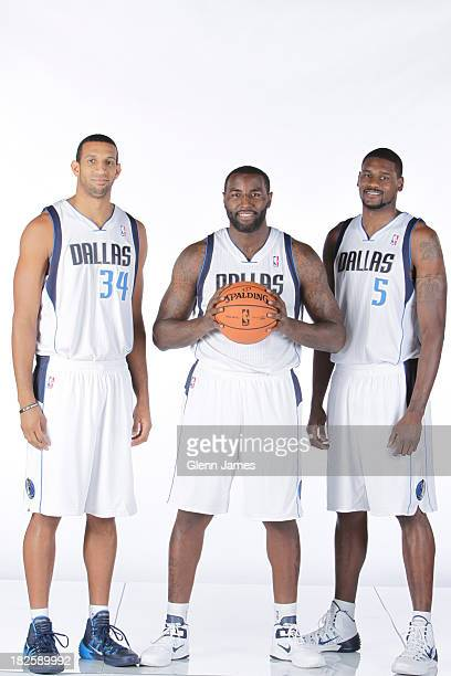 Brandan Wright DeJuan Blair and Bernard James of the Dallas Mavericks pose for a photo at the Dallas Mavericks 20132014 Media Day on September 30...