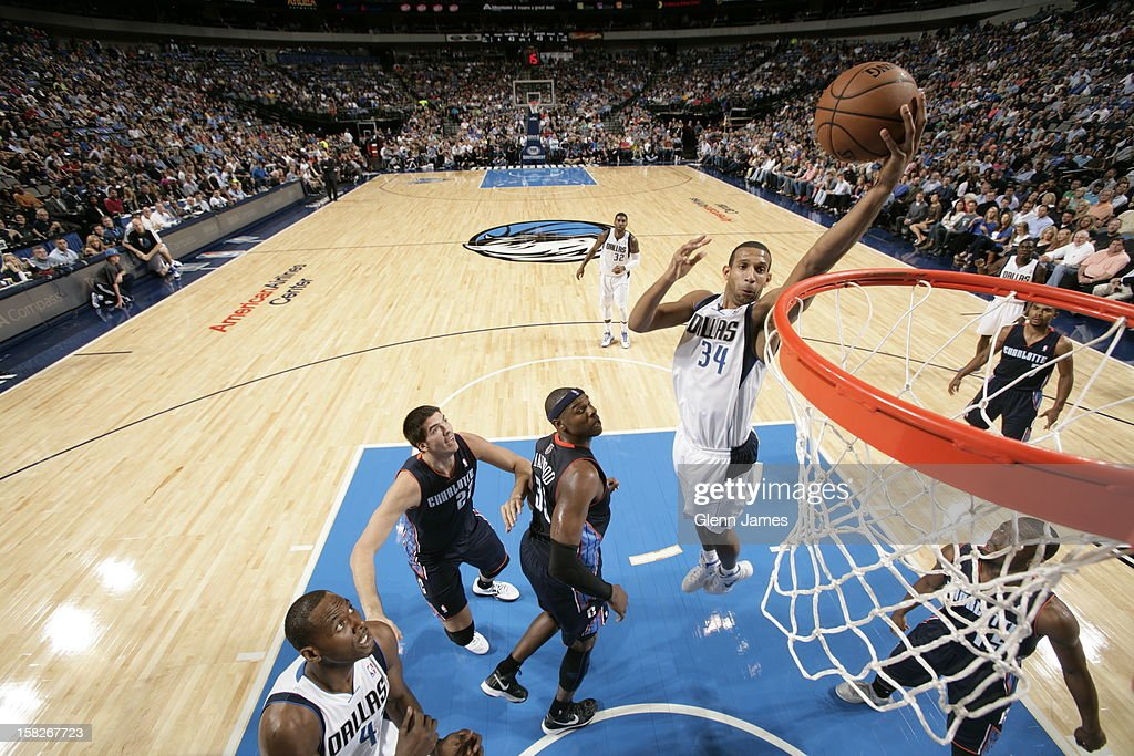 <a gi-track='captionPersonalityLinkClicked' href=/galleries/search?phrase=Brandan+Wright&family=editorial&specificpeople=3847557 ng-click='$event.stopPropagation()'>Brandan Wright</a> #34 of the Dallas Mavericks drives to the basket against the Charlotte Bobcats on November 3, 2012 at the American Airlines Center in Dallas, Texas.