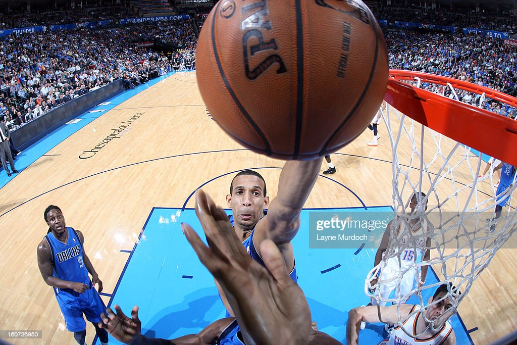 Brandan Wright #34 of the Dallas Mavericks goes in for a layup against the Oklahoma City Thunder on February 4, 2013 at the Chesapeake Energy Arena in Oklahoma City, Oklahoma.