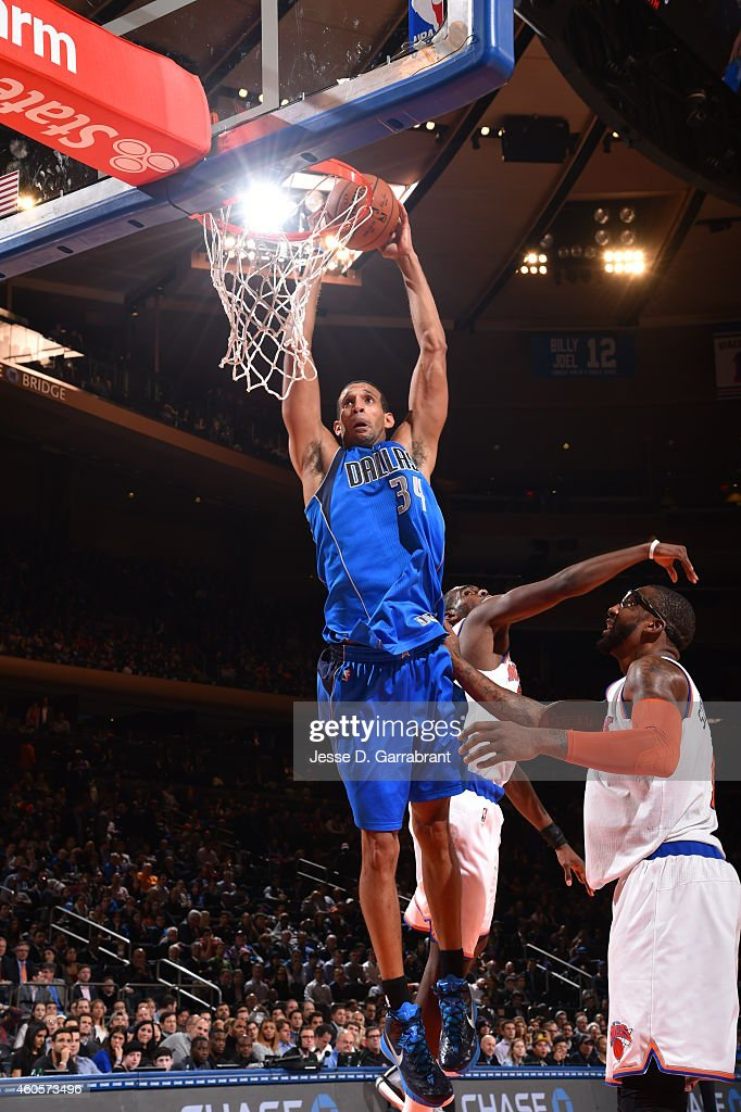 <a gi-track='captionPersonalityLinkClicked' href=/galleries/search?phrase=Brandan+Wright&family=editorial&specificpeople=3847557 ng-click='$event.stopPropagation()'>Brandan Wright</a> #34 of the Dallas Mavericks goes up for the dunk against the New York Knicks on December 16, 2014 at Madison Square Garden in New York, NY.