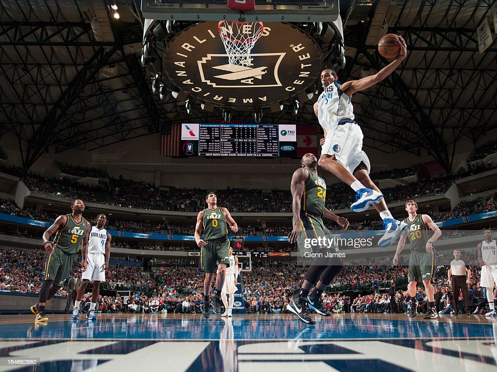<a gi-track='captionPersonalityLinkClicked' href=/galleries/search?phrase=Brandan+Wright&family=editorial&specificpeople=3847557 ng-click='$event.stopPropagation()'>Brandan Wright</a> #34 of the Dallas Mavericks grabs a rebound against the Utah Jazz on March 24, 2013 at the American Airlines Center in Dallas, Texas.
