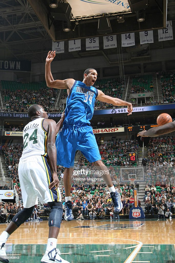Brandan Wright #34 of the Dallas Mavericks loses control of the ball while being guarded by Paul Millsap #24 of the Utah Jazz at Energy Solutions Arena on October 31, 2012 in Salt Lake City, Utah.