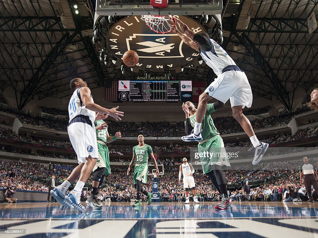 <a gi-track='captionPersonalityLinkClicked' href=/galleries/search?phrase=Brandan+Wright&family=editorial&specificpeople=3847557 ng-click='$event.stopPropagation()'>Brandan Wright</a> #34 of the Dallas Mavericks slams the ball during the game against the Boston Celtics on March 17, 2014 at the American Airlines Center in Dallas, Texas.