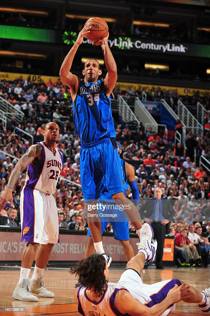 <a gi-track='captionPersonalityLinkClicked' href=/galleries/search?phrase=Brandan+Wright&family=editorial&specificpeople=3847557 ng-click='$event.stopPropagation()'>Brandan Wright</a> #34 of the Dallas Mavericks takes a shot against the Phoenix Suns on February 1, 2013 at U.S. Airways Center in Phoenix, Arizona.