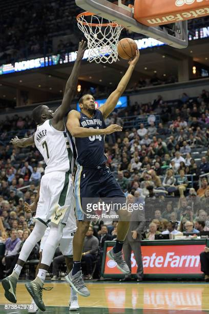 Brandan Wright of the Memphis Grizzlies drives to the basket against Thon Maker of the Milwaukee Bucks during the second half of a game at the...