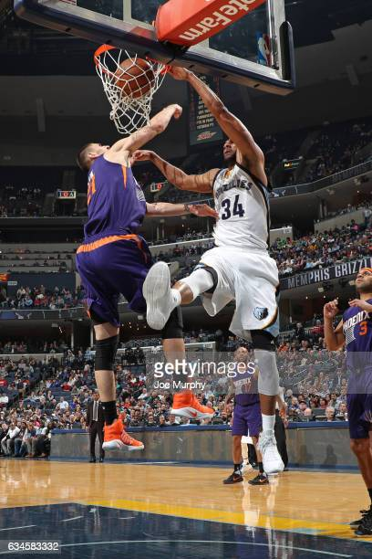 Brandan Wright of the Memphis Grizzlies dunks the ball against Alex Len of the Phoenix Suns on February 8 2017 at FedExForum in Memphis Tennessee...