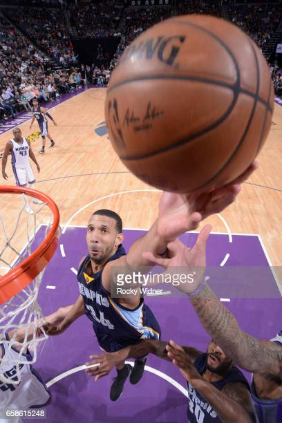 Brandan Wright of the Memphis Grizzlies shoots the ball during a game against the Sacramento Kings on March 27 2017 at Golden 1 Center in Sacramento...