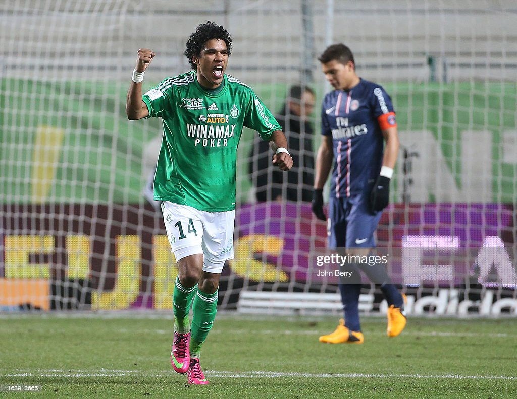 Brandao celebrates a goal during the Ligue 1 match between AS Saint-Etienne ASSE and Paris Saint-Germain FC at the Stade Geoffroy-Guichard on March 17, 2013 in Saint-Etienne, France.
