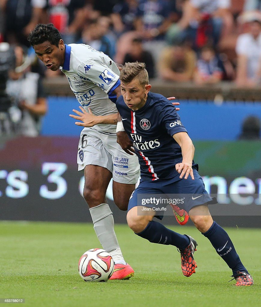 Brandao of Bastia and <a gi-track='captionPersonalityLinkClicked' href=/galleries/search?phrase=Lucas+Digne&family=editorial&specificpeople=5805298 ng-click='$event.stopPropagation()'>Lucas Digne</a> of PSG in action during the French Ligue 1 match between Paris Saint Germain FC and SC Bastia at Parc des Princes stadium on August 16, 2014 in Paris, France.
