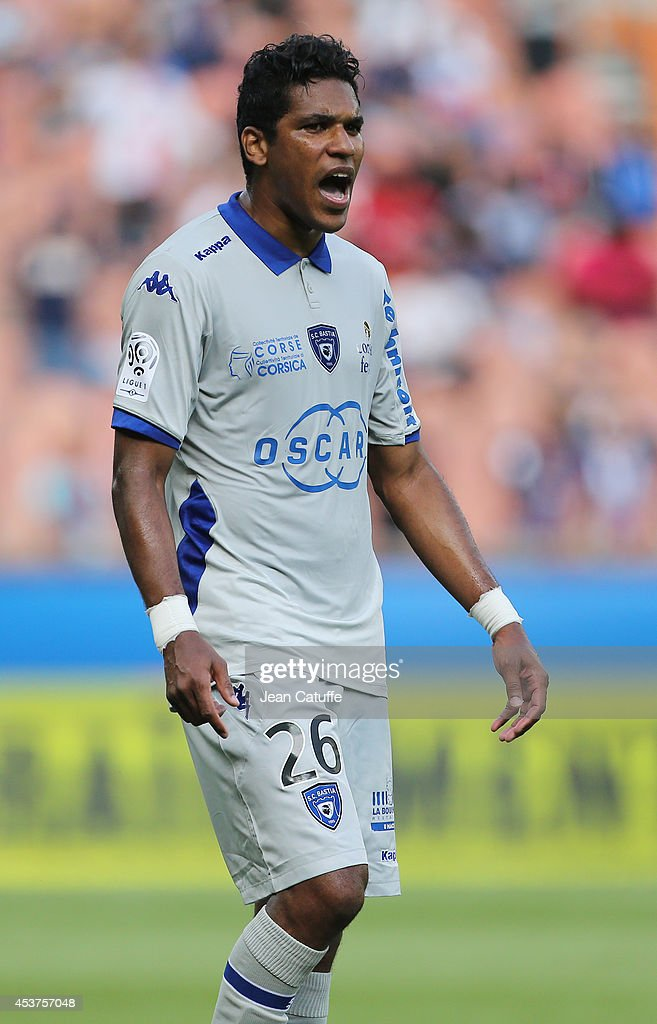 Brandao of Bastia reacts during the French Ligue 1 match between Paris Saint Germain FC and SC Bastia at Parc des Princes stadium on August 16, 2014 in Paris, France.