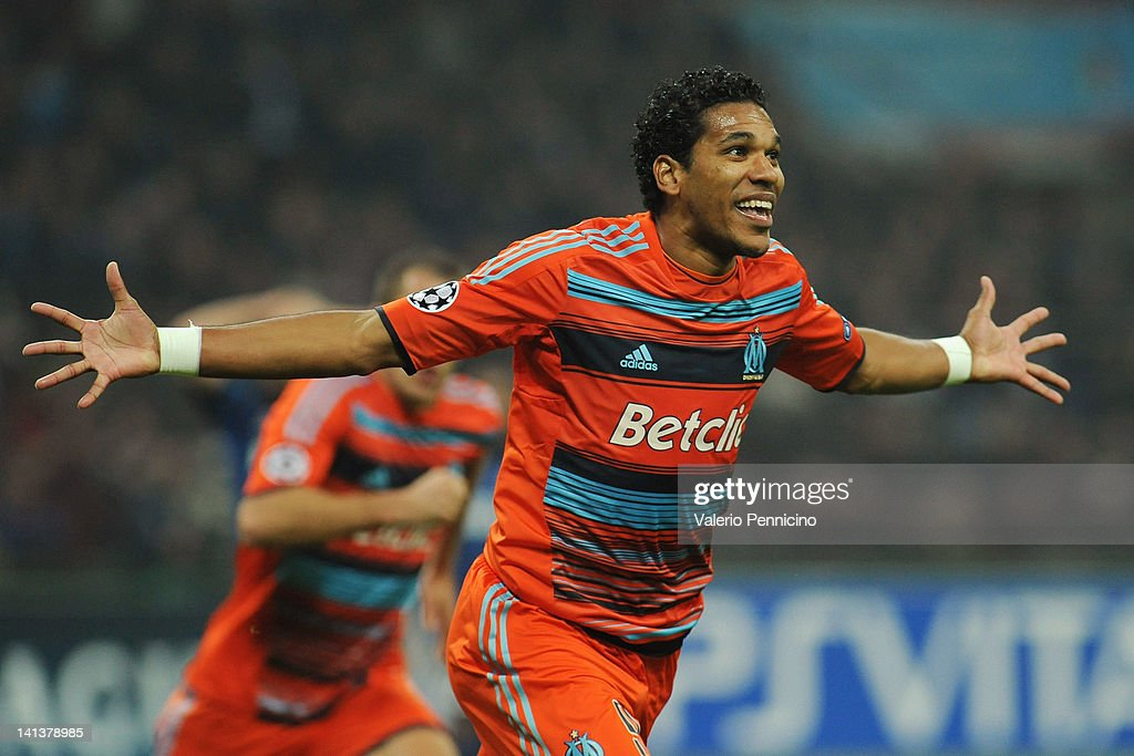 Brandao of Olympique de Marseille celebrates his goal during the UEFA Champions League Round of 16 second leg match between FC Internazionale Milano and Olympique de Marseille at Stadio Giuseppe Meazza on March 13, 2012 in Milan, Italy.