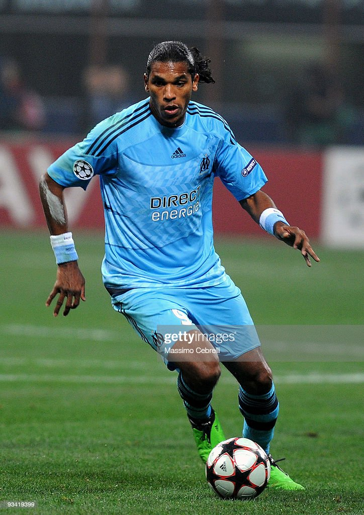 Brandao of Olympique de Marseille in action during the UEFA Champions League Group C match between AC Milan and Olympique de Marseille on November 25, 2009 in Milan, Italy.