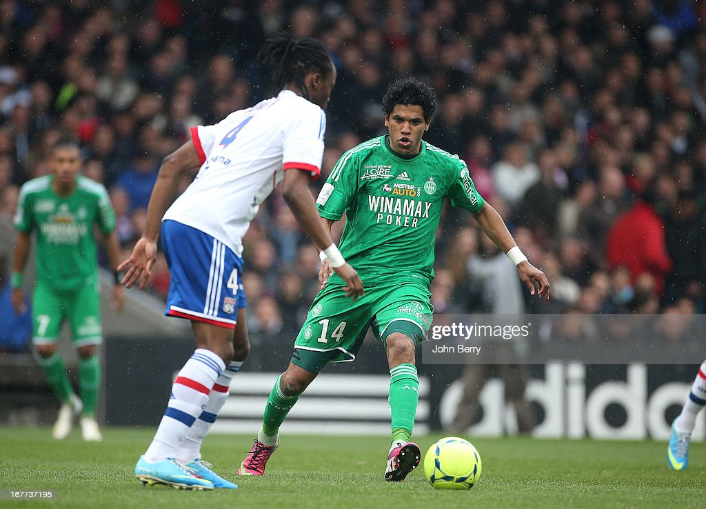 Brandao of Saint-Etienne in action during the Ligue 1 match between Olympique Lyonnais, OL, and AS Saint-Etienne, ASSE, at the Stade Gerland on April 28, 2013 in Lyon, France.