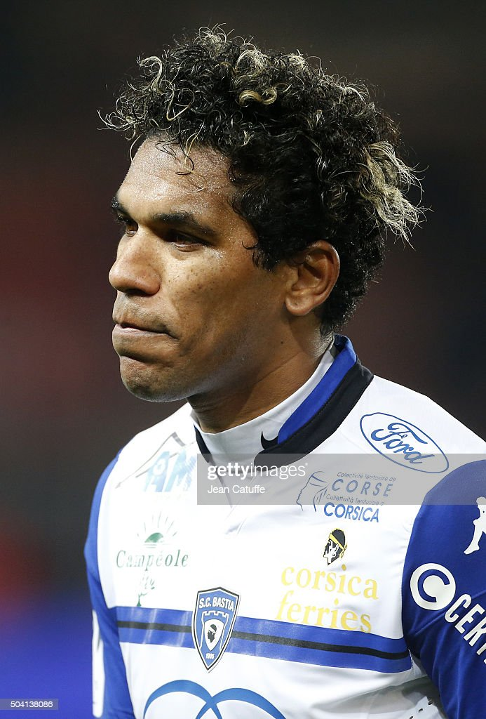 Brandao of SC Bastia looks on during the French Ligue 1 match between Paris Saint-Germain (PSG) and Sporting Club de Bastia (SC Bastia) at Parc des Princes stadium on January 8, 2016 in Paris, France.
