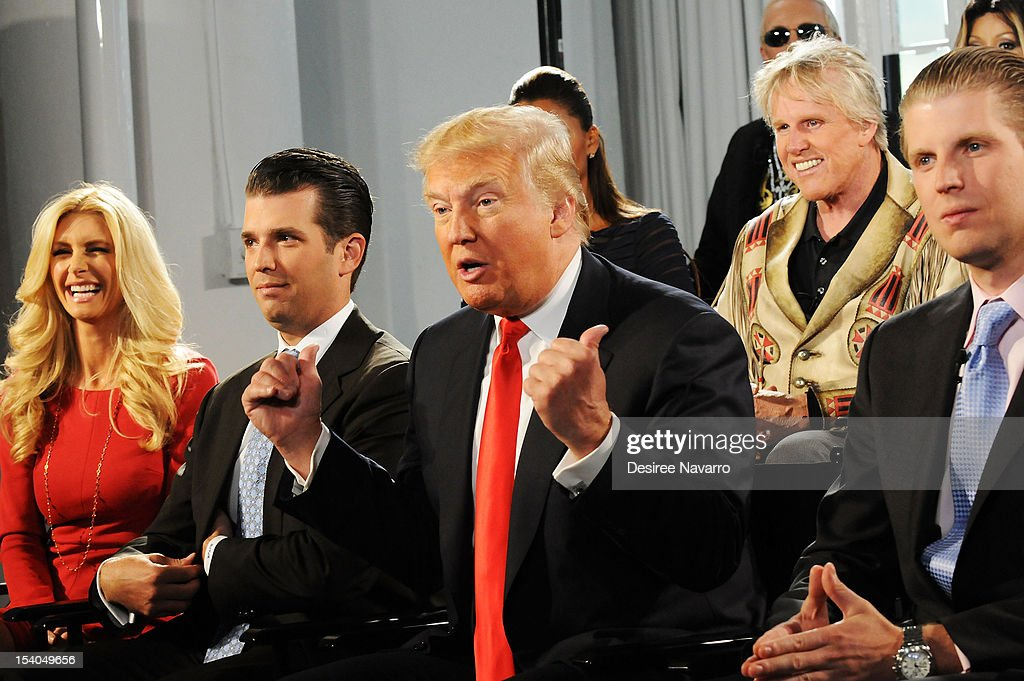 Brande Roderick, Donald Trump Jr.,(C) Donald Trump, Gary Busey and (R) Eric Trump attend the 'Celebrity Apprentice All Stars' Season 13 Press Conference at Jack Studios on October 12, 2012 in New York City.