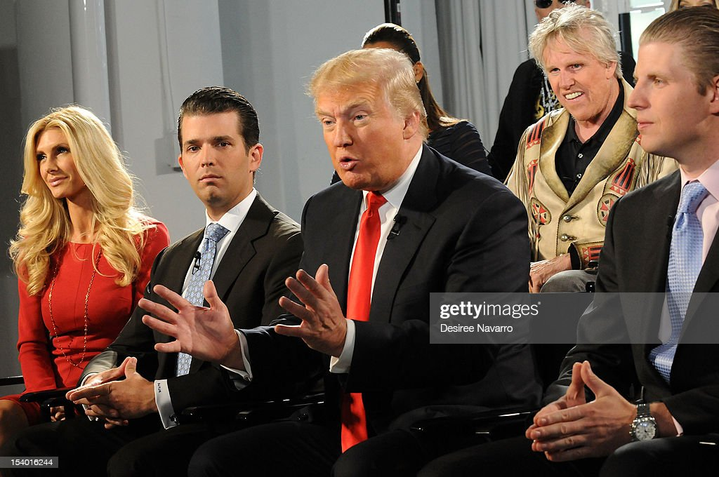 Brande Roderick, Donld Trump Jr.,(C) Donald Trump, Gary Busey and (R) Eric Trump attend the 'Celebrity Apprentice All Stars' Season 13 Press Conference at Jack Studios on October 12, 2012 in New York City.