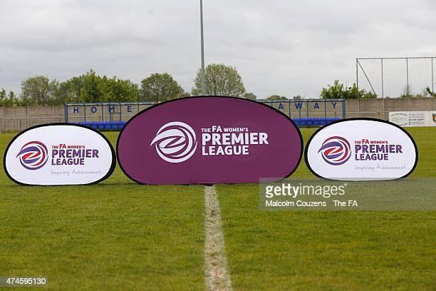 Branded Aboards before The WPL Playoff Final between Portsmouth FC Ladies and Sheffield FC Ladies at Stratford Town FC on May 24 2015 in...