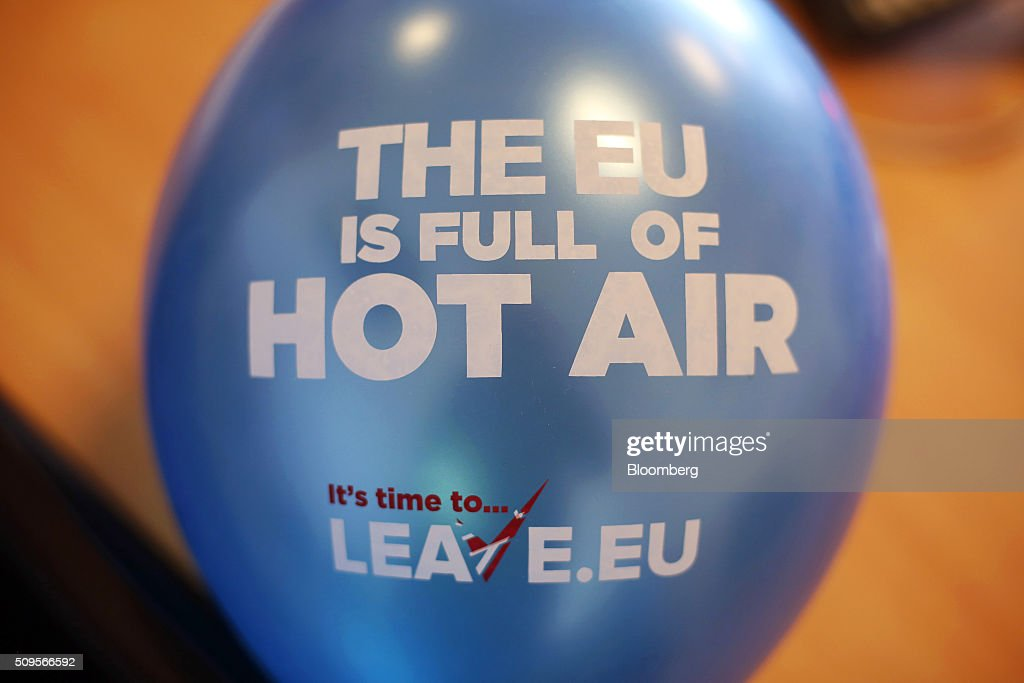 A branded balloon sits on a desk inside the Leave.EU campaign headquarters, a party campaigning against Britain's membership of the European Union, in London, U.K., on Thursday, Feb. 11, 2016. Britain's economy could be thrown off track by the planned referendum on European Union membership, according to the Confederation for British Industry. Photographer: Chris Ratcliffe/Bloomberg via Getty Images