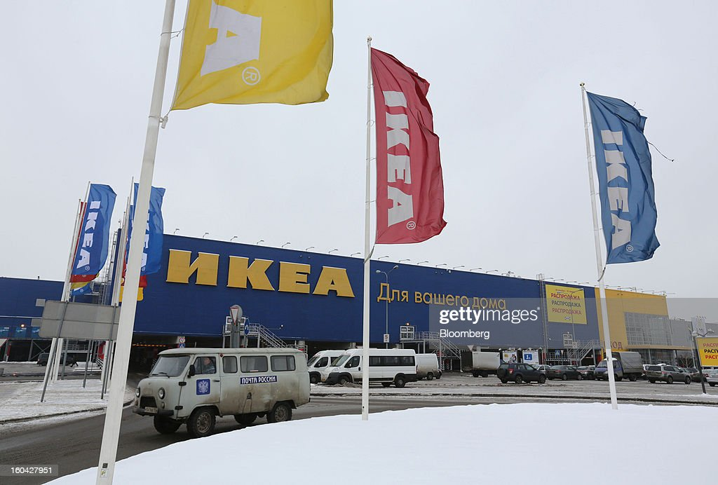 Branded flags fly from flagpoles outside the Ikea Group store at the MEGA Belaya Dacha shopping complex, constructed by the real estate development arm of Inter Ikea Systems BV and one of Europe's largest malls, in Moscow, Russia, on Thursday, Jan. 31, 2013. Russian shopping-mall construction may climb to a record this year as retailers take advantage of rising sales by moving into bigger, more modern buildings, Cushman & Wakefield Inc. said. Photographer: Andrey Rudakov/Bloomberg via Getty Images