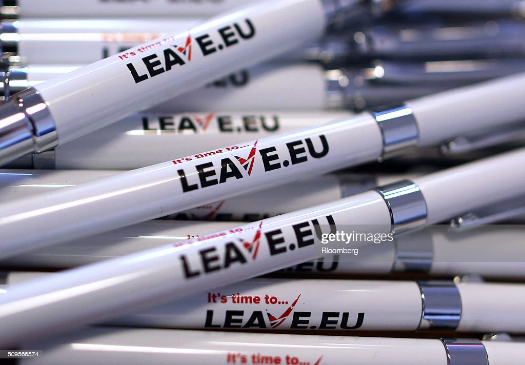 Branded pens sit inside the Leave.EU campaign headquarters, a party campaigning against Britain's membership of the European Union, in London, U.K., on Thursday, Feb. 11, 2016. Britain's economy could be thrown off track by the planned referendum on European Union membership, according to the Confederation for British Industry. Photographer: Chris Ratcliffe/Bloomberg via Getty Images