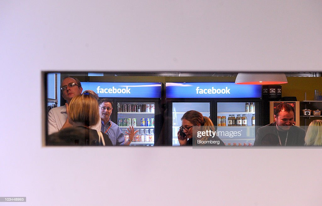 Branded refrigerators greet visitors to the headquarters of Facebook Inc. in Palo Alto, California, U.S., on Wednesday, Aug. 18, 2010. Facebook Inc. unveiled a service that makes it easier for users to share their whereabouts with other people, making a deeper push into a fast-growing market pioneered by Foursquare Labs Inc. Photographer: Noah Berger/Bloomberg via Getty Images