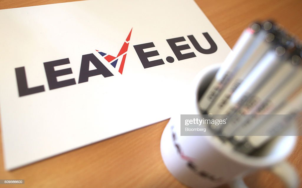 Branded stationary sit on a desk inside the Leave.EU campaign headquarters, a party campaigning against Britain's membership of the European Union, in London, U.K., on Thursday, Feb. 11, 2016. Britain's economy could be thrown off track by the planned referendum on European Union membership, according to the Confederation for British Industry. Photographer: Chris Ratcliffe/Bloomberg via Getty Images