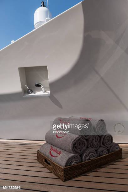 Branded towels sit on deck of Latitude manufactured by Azimut Benetti SpA during the Monaco Yacht Show in Port Hercules Monaco on Wednesday Sept 27...