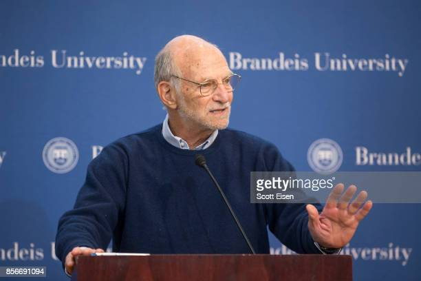 Brandeis Professor Michael Rosbash speaks during a press conference after it was announced he was awarded a Nobel Prize In Medicine on October 2 2017...