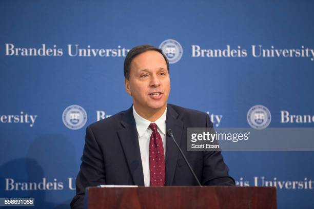 Brandeis University President Ron Liebowitz speaks during a press conference about Brandeis Professor Michael Rosbash who learned he was awarded a...