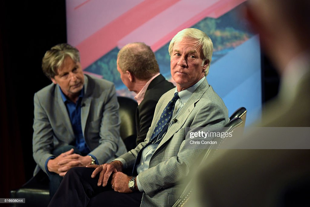 <a gi-track='captionPersonalityLinkClicked' href=/galleries/search?phrase=Brandel+Chamblee&family=editorial&specificpeople=3431577 ng-click='$event.stopPropagation()'>Brandel Chamblee</a> interviews <a gi-track='captionPersonalityLinkClicked' href=/galleries/search?phrase=Tom+Kite&family=editorial&specificpeople=213171 ng-click='$event.stopPropagation()'>Tom Kite</a> and <a gi-track='captionPersonalityLinkClicked' href=/galleries/search?phrase=Ben+Crenshaw&family=editorial&specificpeople=213758 ng-click='$event.stopPropagation()'>Ben Crenshaw</a> during the live broadcast of the Dell Match Play Bracket Special at the Paramount Theater prior to the World Golf Championships - Dell Match Play at Austin Country Club on March 21, 2016 in Austin, Texas.