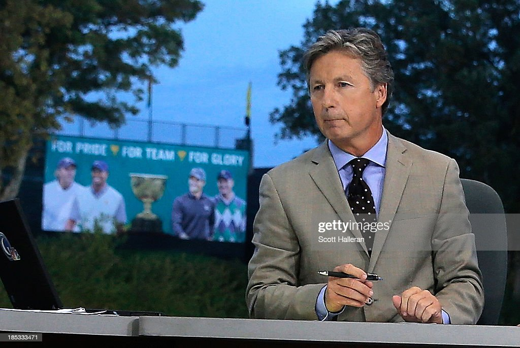 <a gi-track='captionPersonalityLinkClicked' href=/galleries/search?phrase=Brandel+Chamblee&family=editorial&specificpeople=3431577 ng-click='$event.stopPropagation()'>Brandel Chamblee</a> is seen on the set of The Golf Channel during the second day of play at the Presidents Cup on October 4, 2013 in Dublin, Ohio.