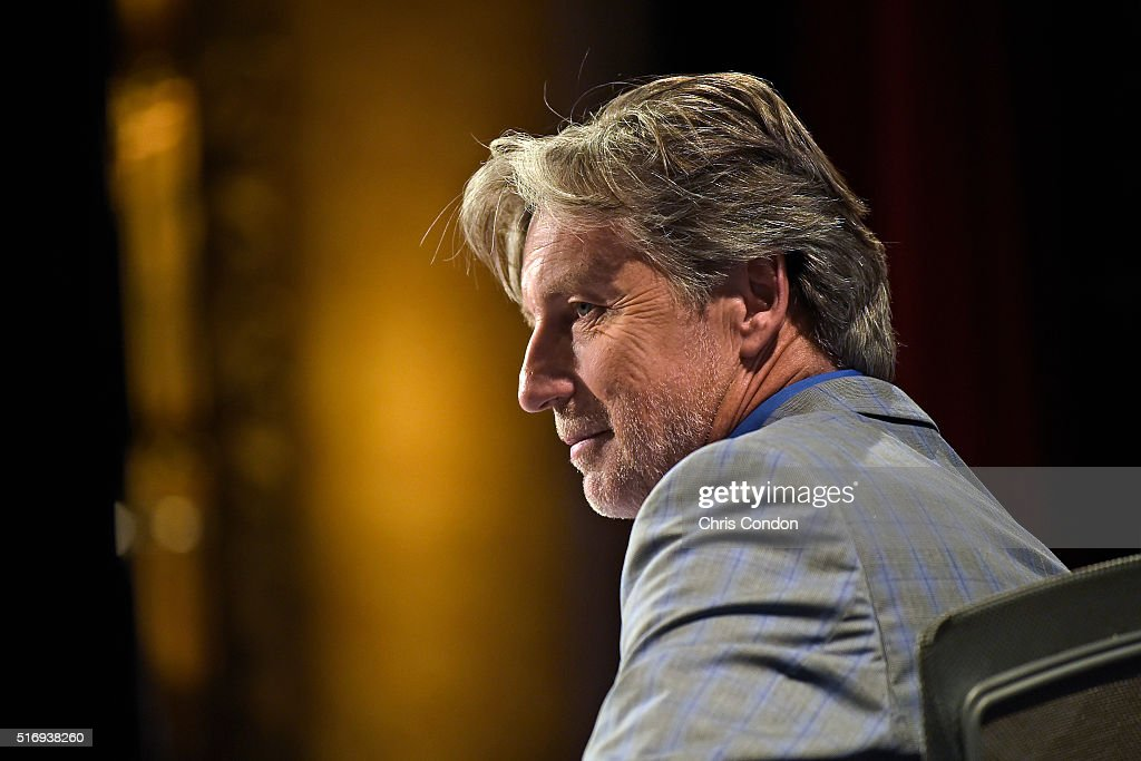 <a gi-track='captionPersonalityLinkClicked' href=/galleries/search?phrase=Brandel+Chamblee&family=editorial&specificpeople=3431577 ng-click='$event.stopPropagation()'>Brandel Chamblee</a> of the Golf Channel listens to Tim Rosaforte during the live broadcast of the Dell Match Play Bracket Special at the Paramount Theater prior to the World Golf Championships - Dell Match Play at Austin Country Club on March 21, 2016 in Austin, Texas.