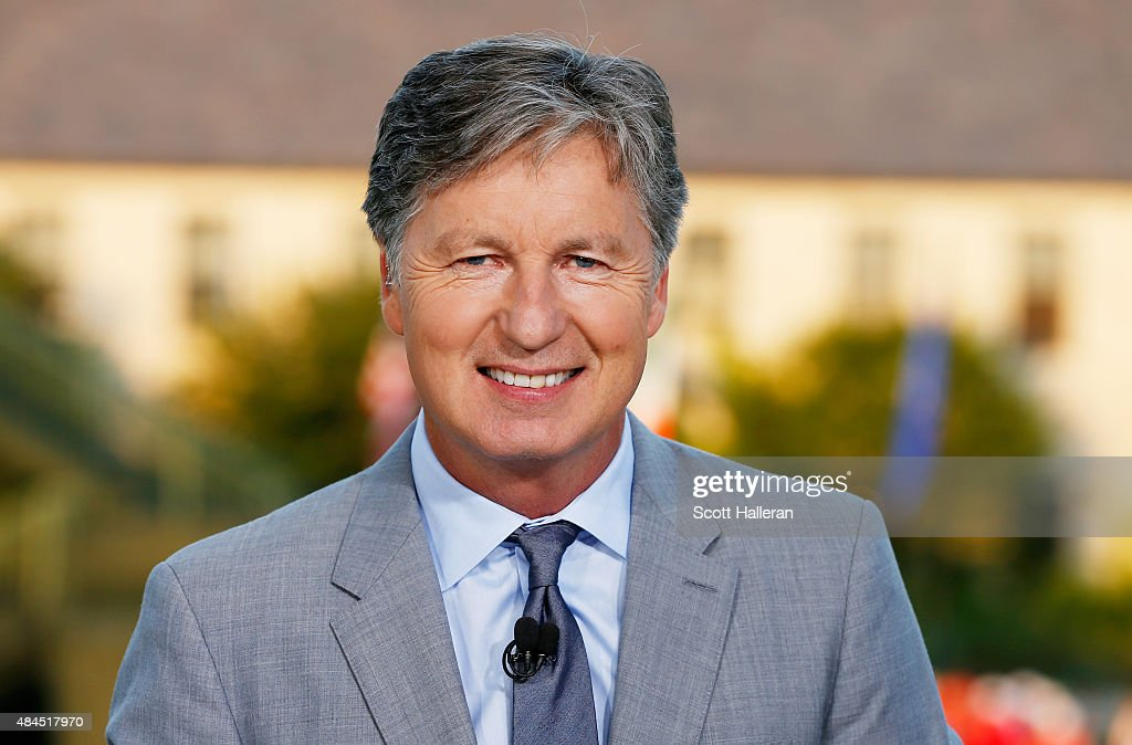 <a gi-track='captionPersonalityLinkClicked' href=/galleries/search?phrase=Brandel+Chamblee&family=editorial&specificpeople=3431577 ng-click='$event.stopPropagation()'>Brandel Chamblee</a> reports on the set of Golf Channel after the third round of the 2015 PGA Championship at Whistling Straits on August 15, 2015 in Sheboygan, Wisconsin.