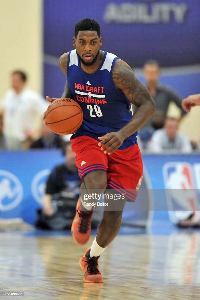 <a gi-track='captionPersonalityLinkClicked' href=/galleries/search?phrase=Branden+Dawson&family=editorial&specificpeople=7621225 ng-click='$event.stopPropagation()'>Branden Dawson</a> #29 dribbles the ball during the 2015 NBA Draft Combine on May 14, 2015 at Quest Multiplex in Chicago, Illinois.