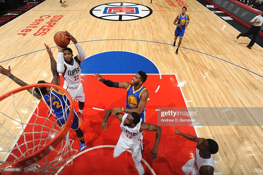 <a gi-track='captionPersonalityLinkClicked' href=/galleries/search?phrase=Branden+Dawson&family=editorial&specificpeople=7621225 ng-click='$event.stopPropagation()'>Branden Dawson</a> #22 of the Los Angeles Clippers shoots against the Golden State Warriors on October 20, 2015 at STAPLES Center in Los Angeles, California.