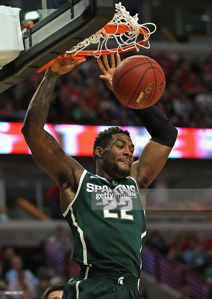 Branden Dawson of the Michigan State Spartans dunks against the Wisconsin Badgers during the Championship game of the 2015 Big Ten Men's Basketball...