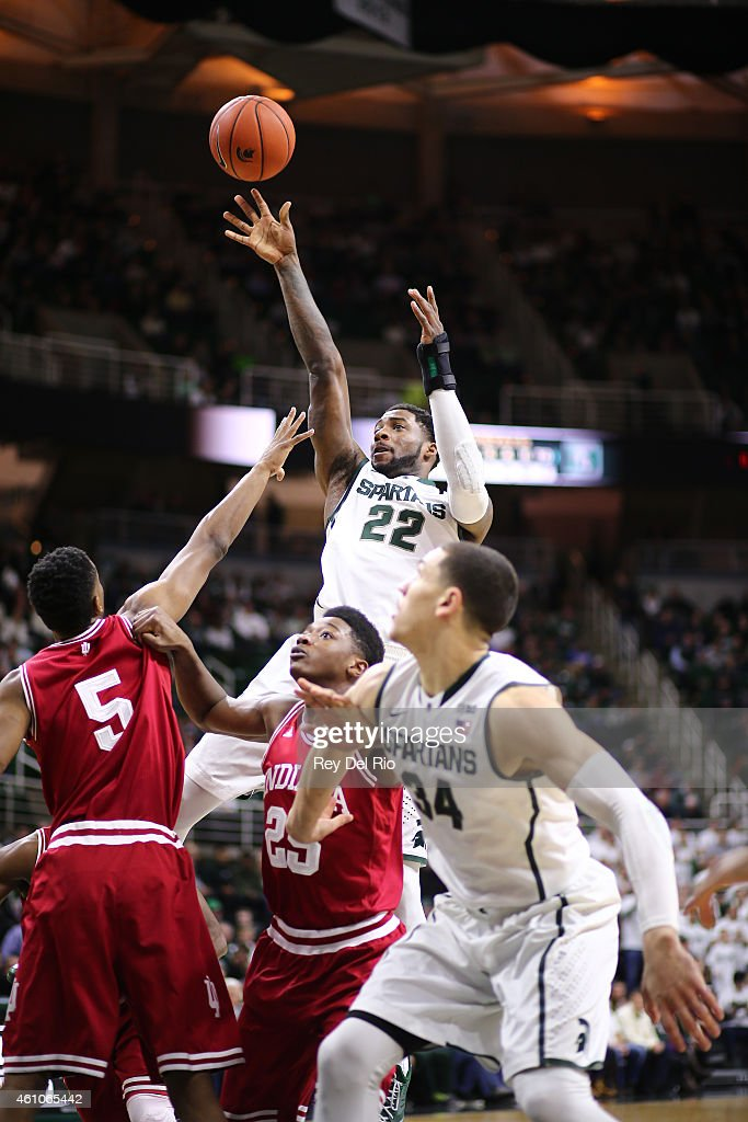 <a gi-track='captionPersonalityLinkClicked' href=/galleries/search?phrase=Branden+Dawson&family=editorial&specificpeople=7621225 ng-click='$event.stopPropagation()'>Branden Dawson</a> #22 of the Michigan State Spartans shoots against the Indiana Hoosiers at the Breslin Center on January 5, 2015 in East Lansing, Michigan.