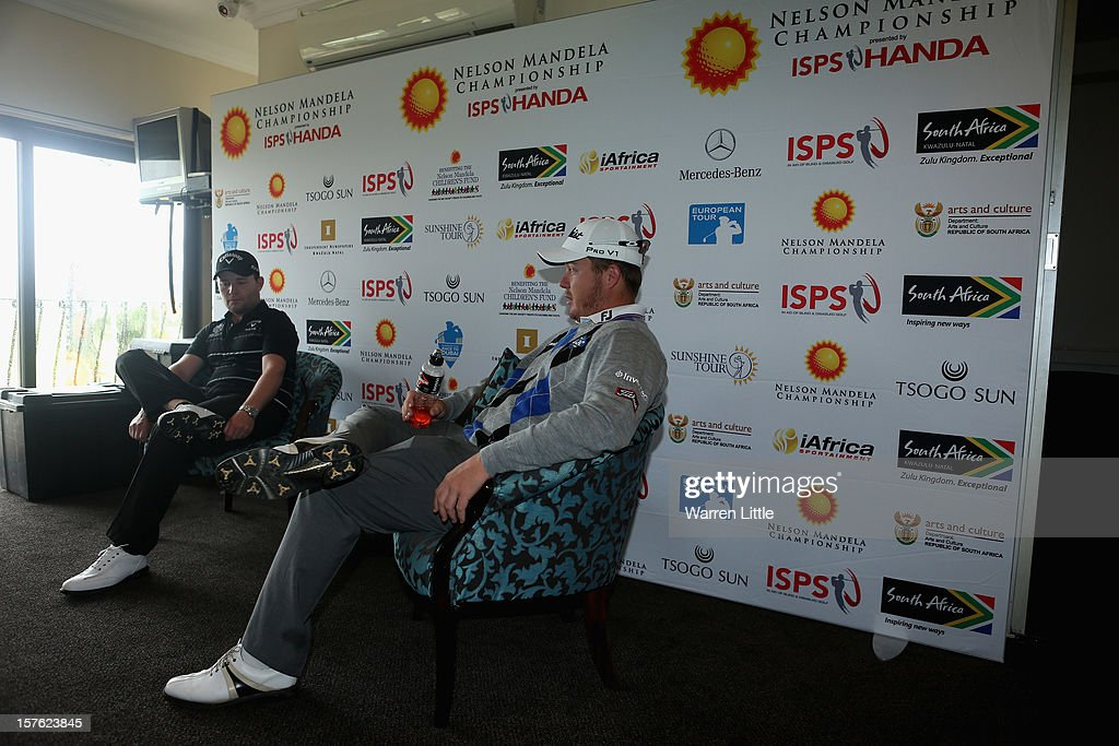 <a gi-track='captionPersonalityLinkClicked' href=/galleries/search?phrase=Branden+Grace&family=editorial&specificpeople=4816558 ng-click='$event.stopPropagation()'>Branden Grace</a> and George Coetzee of South Africa addreses a press conference during the Pro-am of The Nelson Mandela Championship presented by ISPS Handa at Royal Durban Golf Club on December 5, 2012 in Durban, South Africa.
