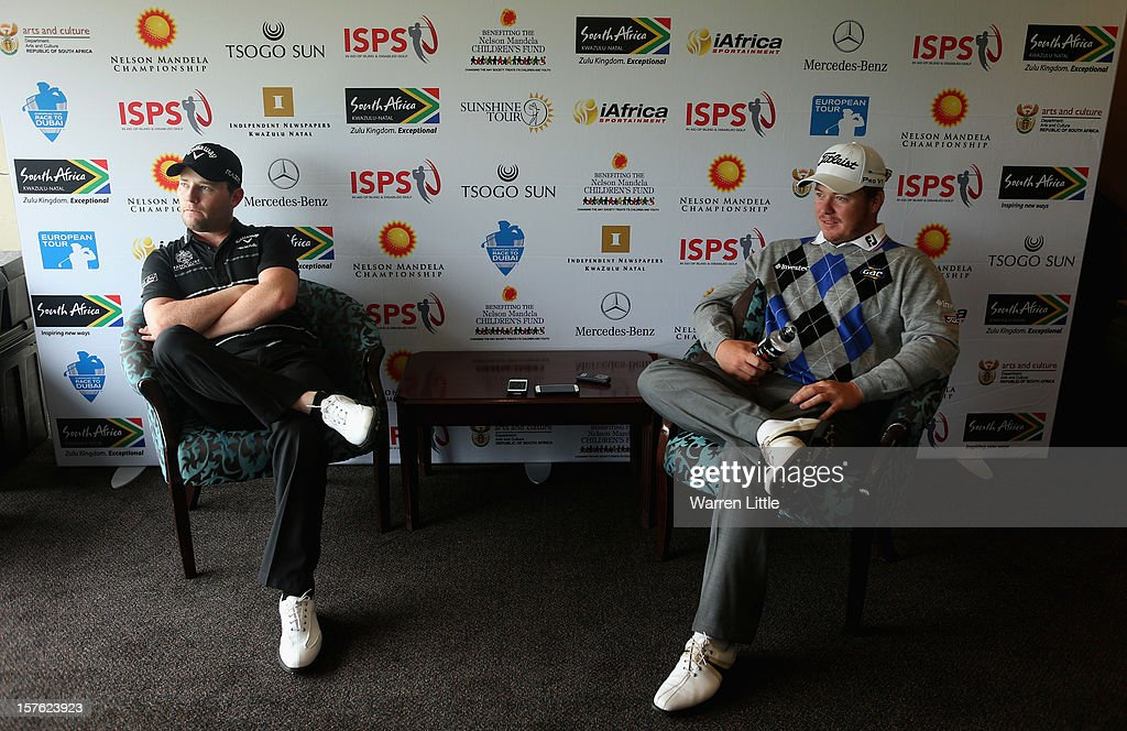 Branden Grace and George Coetzee of South Africa addreses a press conference during the Pro-am of The Nelson Mandela Championship presented by ISPS Handa at Royal Durban Golf Club on December 5, 2012 in Durban, South Africa.