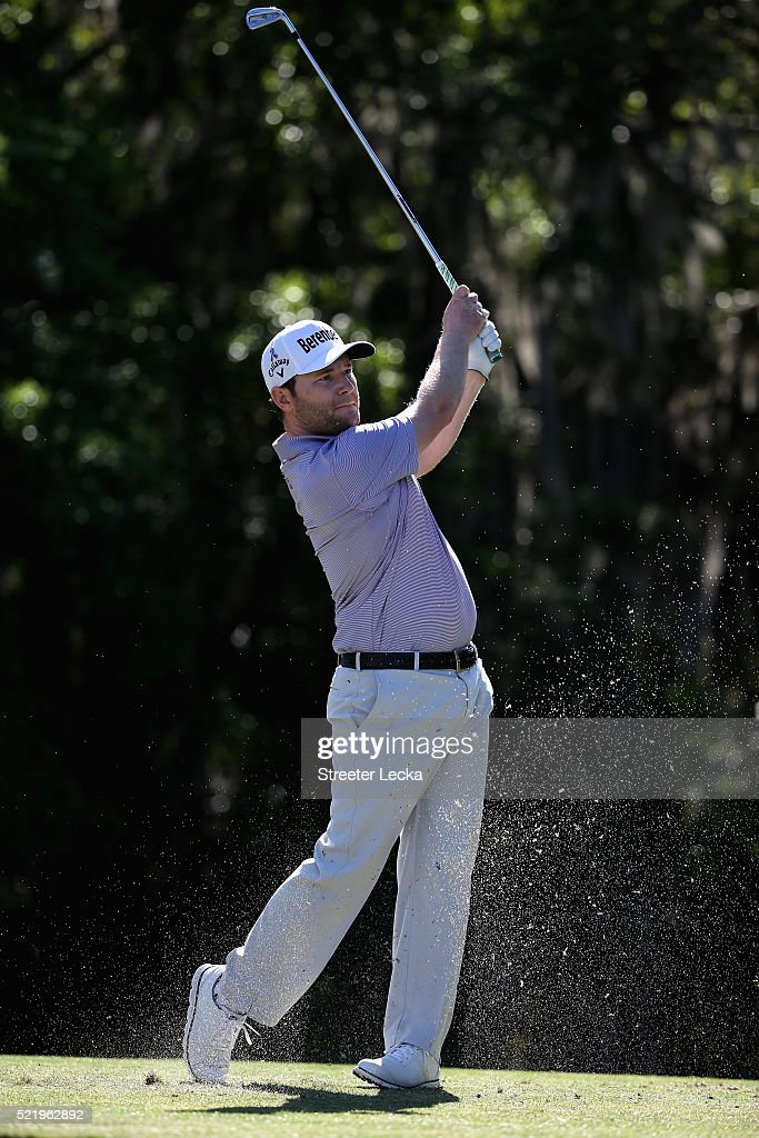 Branden Grace hits a tee shot on the 14th hole during the final round of the 2016 RBC Heritage at Harbour Town Golf Links on April 17 2016 in Hilton...