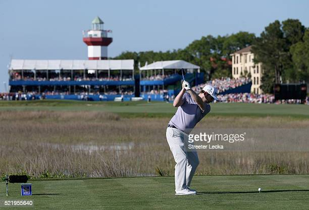 Branden Grace hits a tee shot on the 18th hole during the final round of the 2016 RBC Heritage at Harbour Town Golf Links on April 17 2016 in Hilton...